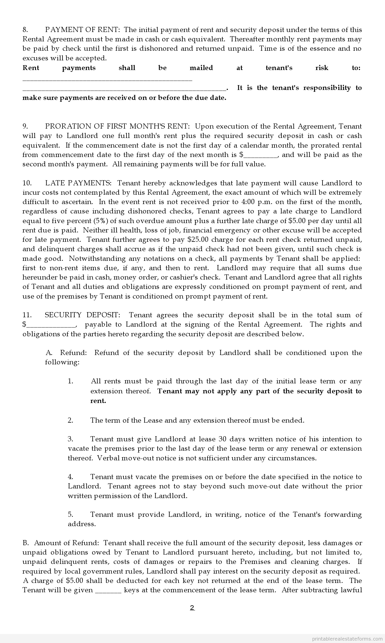 Printable Sample Lease Agreement Form  Legal Forms Online Free