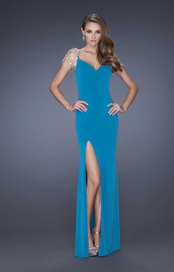 La Femme 20025 Side Slit V Neck Prom Gown in Teal 2017 Online