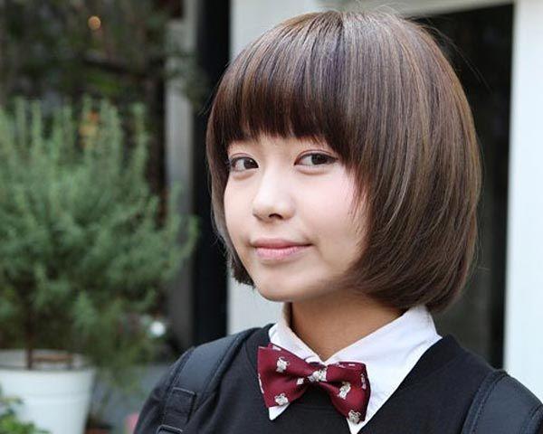 Korean School girl short Bob hairstyle
