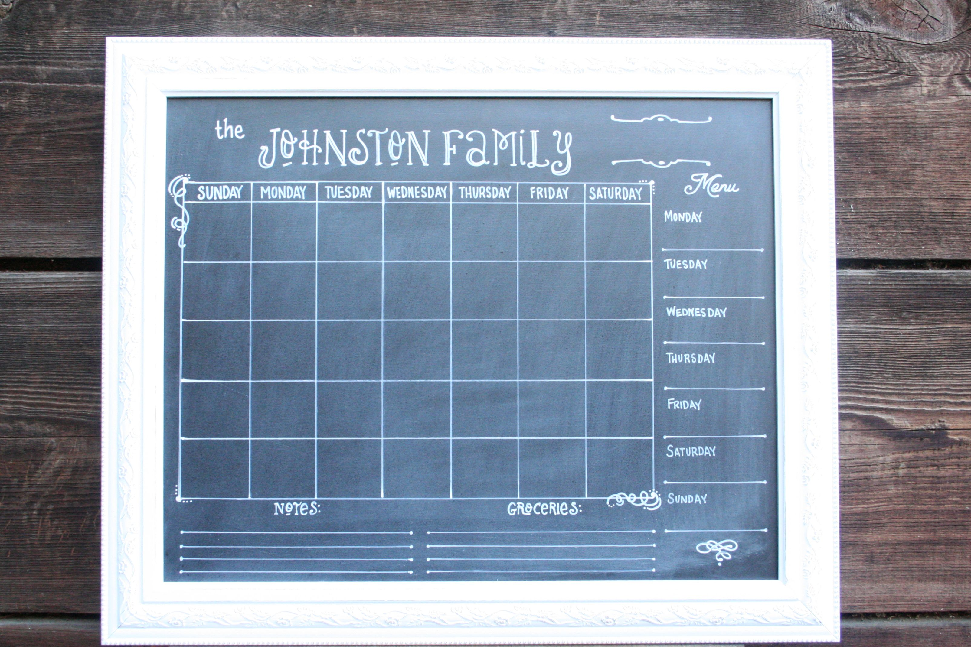 Family custom chalkboard calendar with menu and to do lists. New ...