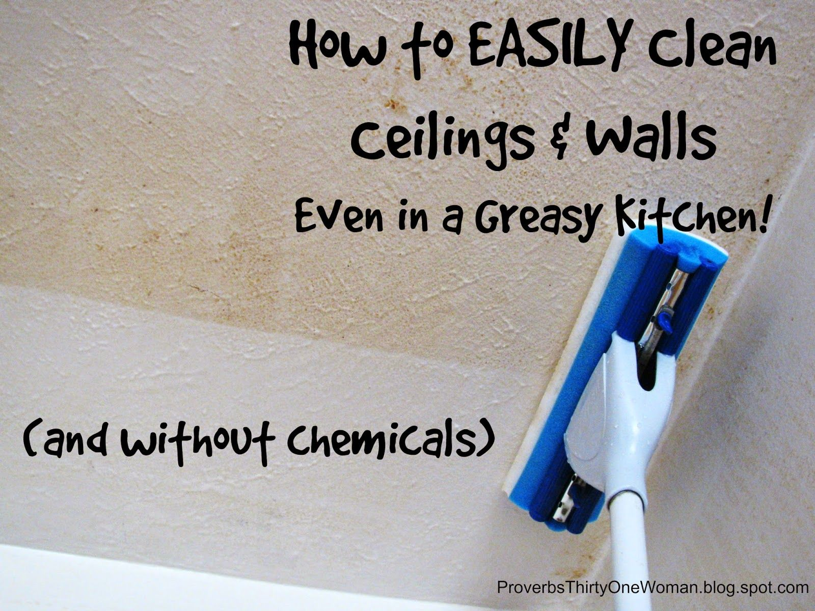 how to easily clean ceilings walls even in a greasy kitchen rh pinterest com