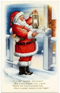 Old Design Shop Free Printable Vintage Whitney Christmas Postcard Santa With Lantern And List
