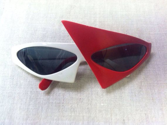 Vintage Red White Punk Rock 80s Sunglasses UNDER 20