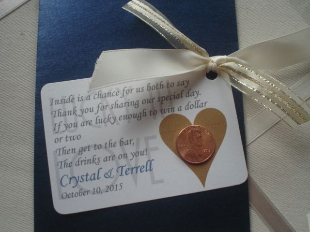 Lottery Wedding Favor envelope with Lucky Penny and Poem ...