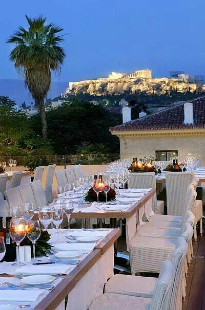 Fantastic View Of The Acropolis From Varoulko Restaurant In
