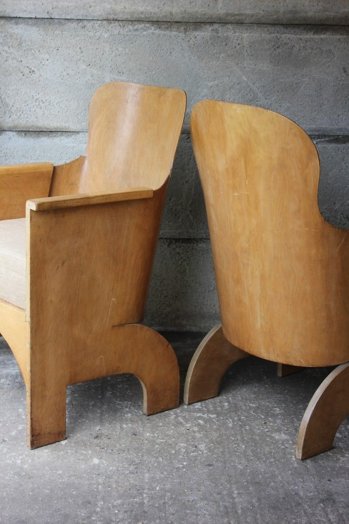 A pair of armchairs, by British Designer Gerald Summers – famous for being the first and most innovative Briton to bend plywood in this…