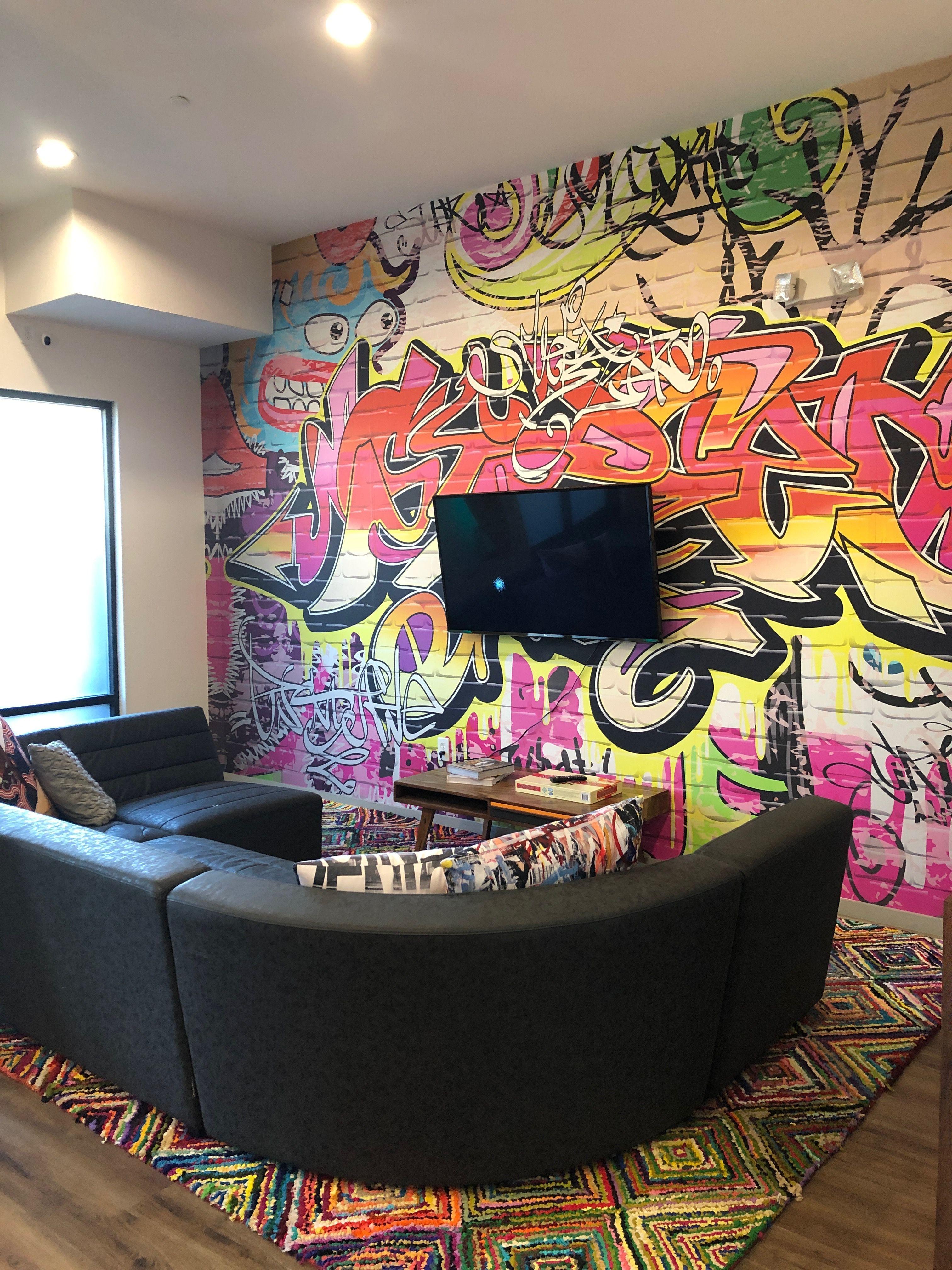 Wall Art Graffiti Brick Wall Accent Wall Diy Home Decor Bold Pop Street Art Graffiti Room Home Room Design Home Decor