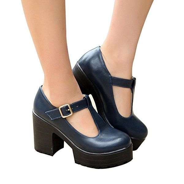 Milesline Fashion Women's Round Toe Platform Shoes T-strap Chunky ...
