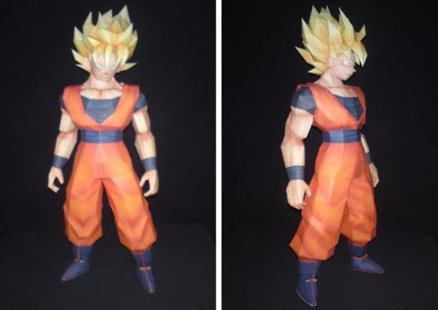 Dragon Ball Z - Sangoku SSJ 1 Paper Model - by Paper Juke    ==             French designer Paper Juke shares more one nice model from Dragon Ball Z universe: this is Sangoku SSJ 1, a paper model with 39 cm tall and occupying 11 sheets of paper.