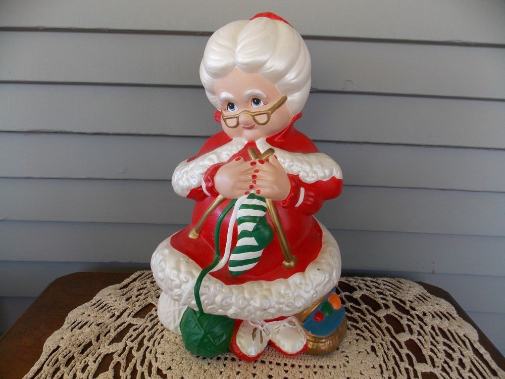 Vintage Ceramic Mrs Santa Claus Christmas Figure Hand Painted Atlantic Mold