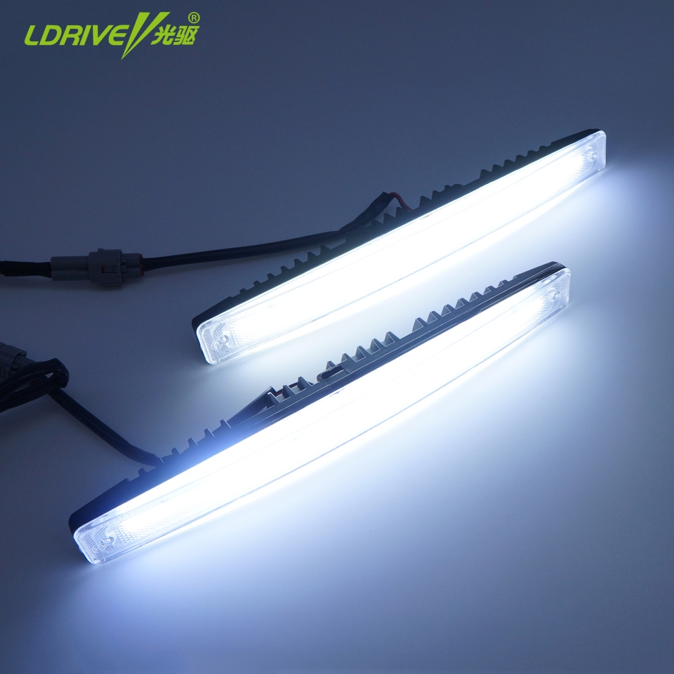 32.89$  Watch now - http://alitde.shopchina.info/go.php?t=32666016690 - 2PCS/LOT Waterproof Car Super Bright High and Low Beam Aluminum LED Daytime Running Lights with Lens DC12V Xenon White 1 Set DRL  #bestbuy