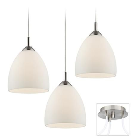 Possini Euro Opal Glass Brushed Nickel 3 Light Pendant