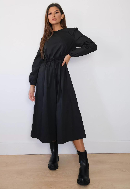 Black Poplin Tie Waist Midi Smock Dress Missguided Women Dress Online Trending Dresses Dresses [ 1448 x 1000 Pixel ]