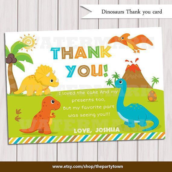 Dinosaur Thank You Card Note Dinosaurs Personalized Printable Pdf