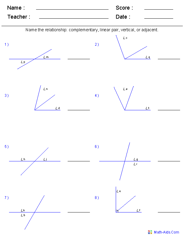 Angle Pair Relationships Worksheets | Mathematics | Pinterest