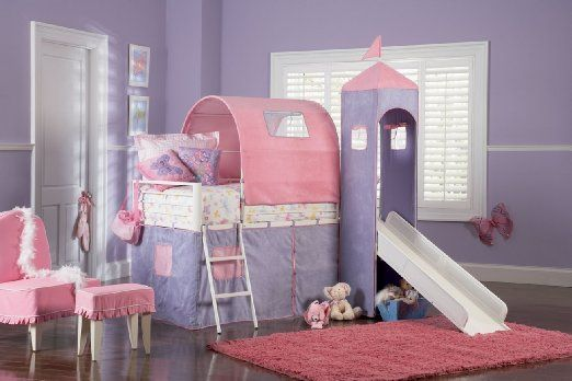 Amazon.com - Powell Princess Castle Twin Tent Bunk Bed with Slide