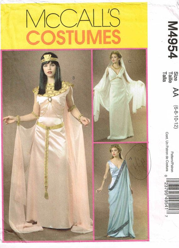 Egyptian Cleopatra Gown Greek Goddess Dress Halloween Costume Sewing
