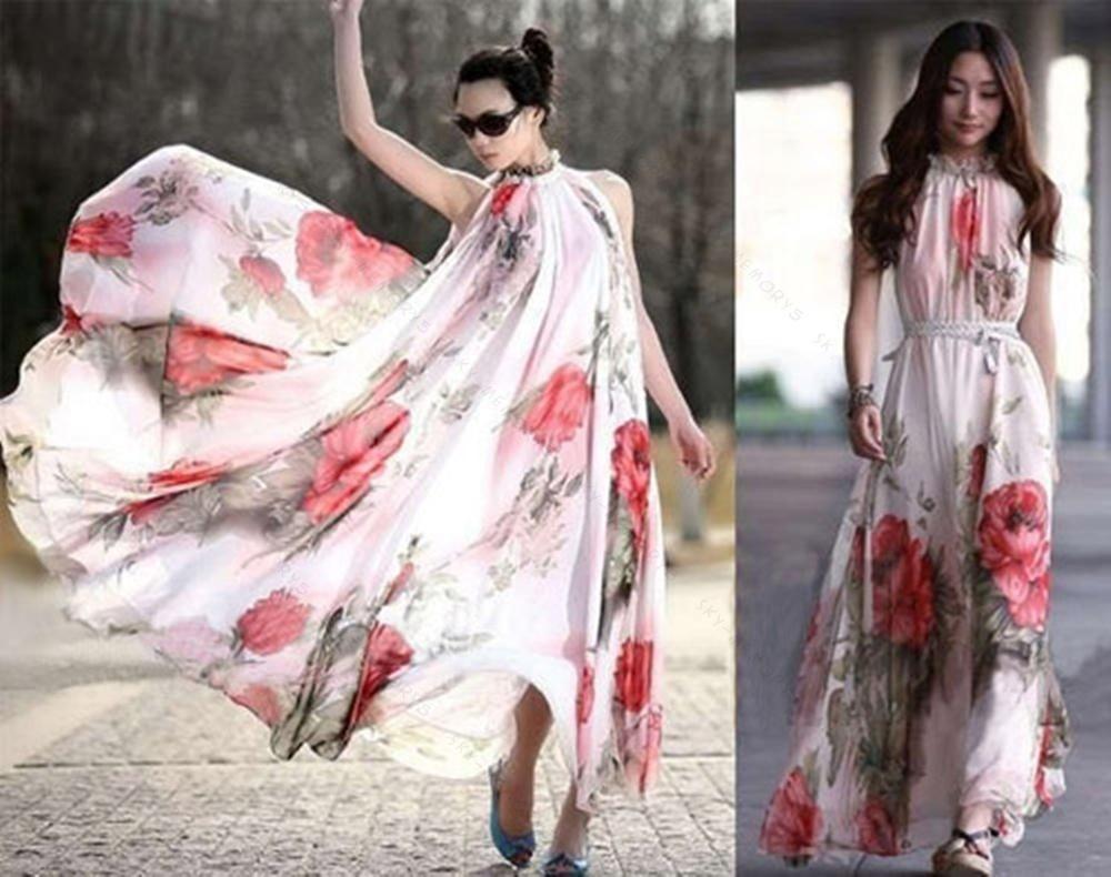 Womens Big HemSKMY Summer Elegant BoHO Lotus Leaf Chiffon Long Flower Maxi Dress