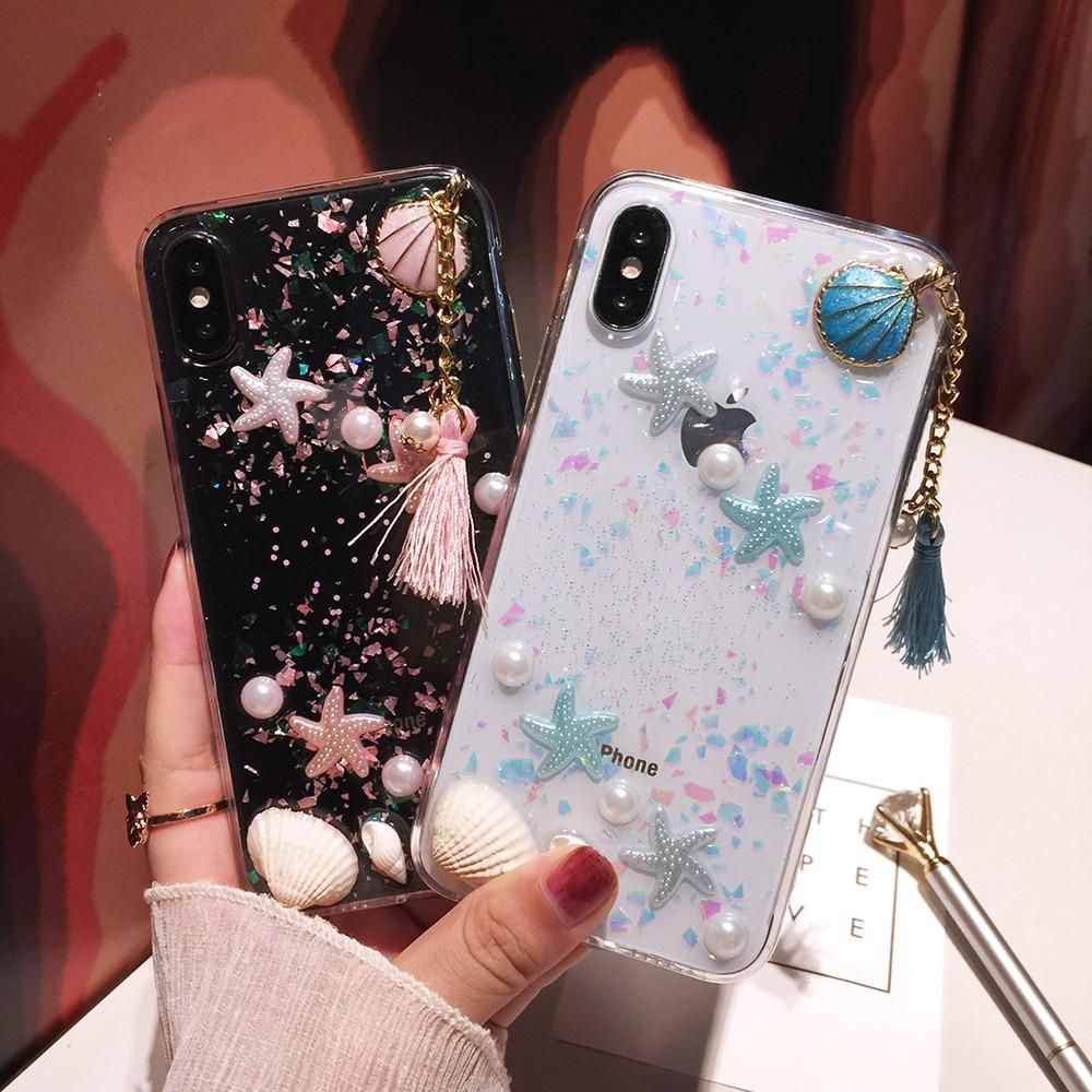 3D Pearl Shells Summer Sea Phone Case with Tassels Phone