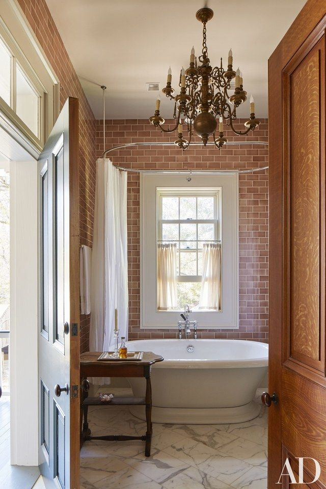 traditional bathrooms designs bedroom fauxbrick tilework adds rustic note to guest bathroom archdigestcom tate taylor the help director renovates an 1830s mississippi