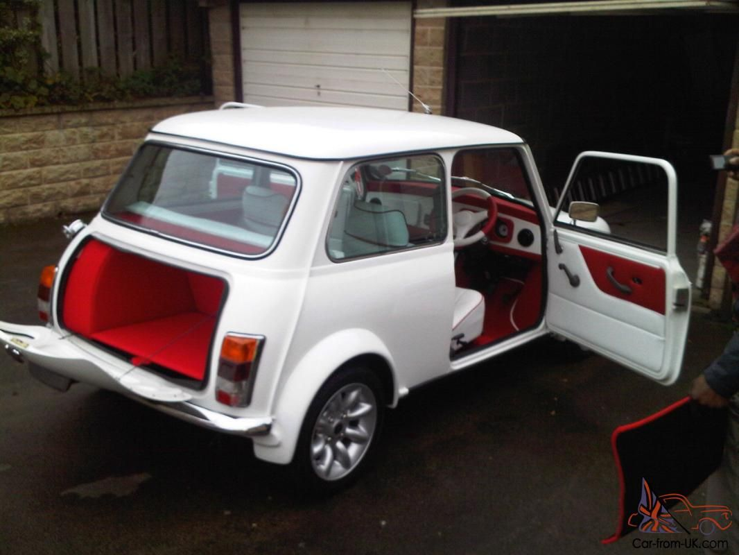 1987 classic austin mini advantage white custom leather interior