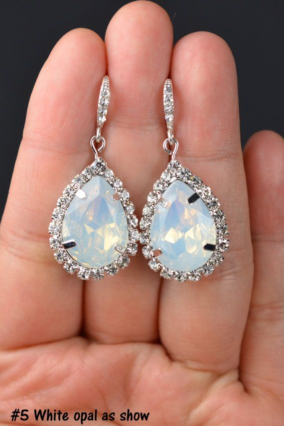 Opal Bridesmaid jewelry white opal drop earringsopal dangle prom