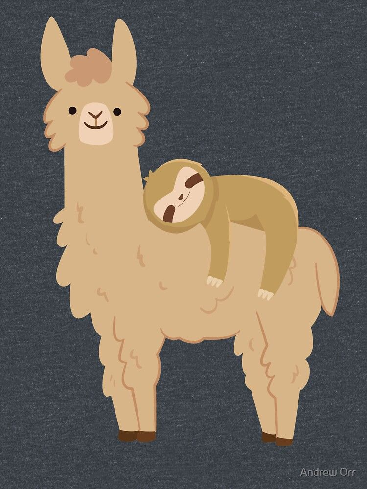 'Adorable Sloth Relaxing on a Llama | Funny Llama Sloth' Classic T-Shirt by Andrew Orr
