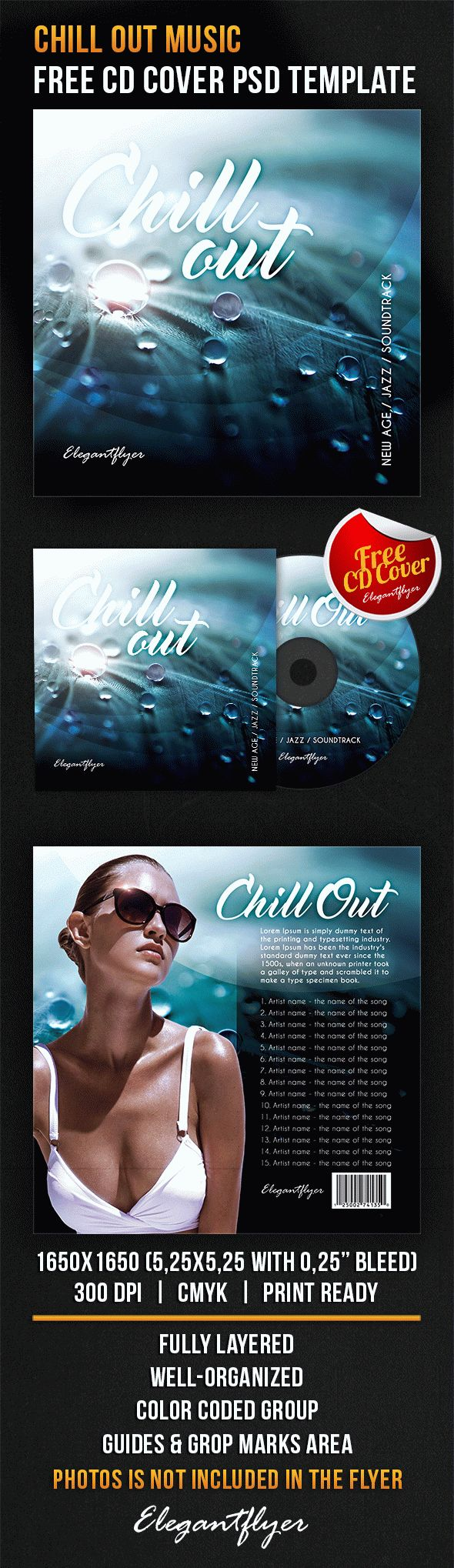 chill out music free cd cover psd template free cd dvd cover
