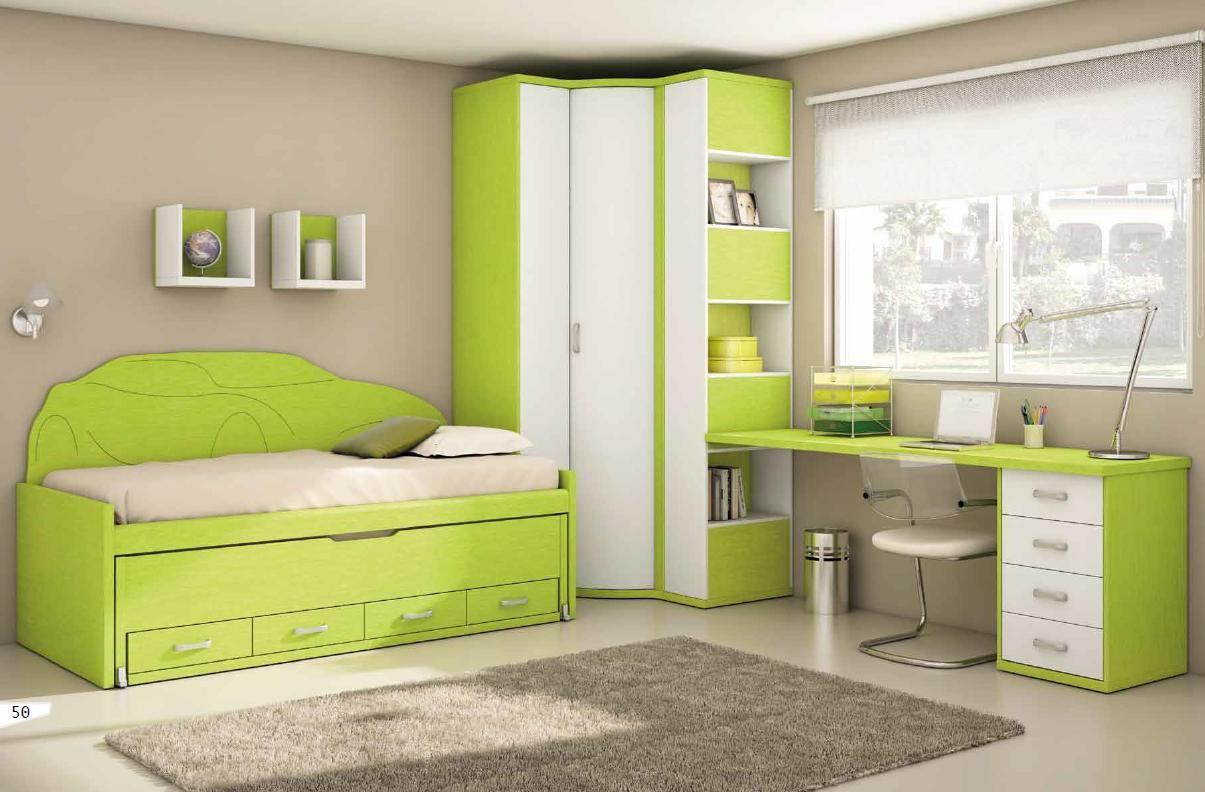Dormitorio juvenil de muebles exojo en verde y blanco - Muebles habitacion pequena ...