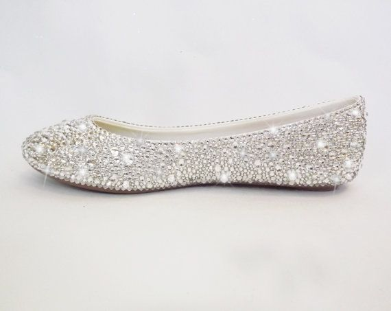 Check Out These Comfortable Ballet Flats Made With Thousands Of Genuine Swarovski Crystals Free Shipping Bling Shoes Wedding Shoes Pumps Wedding Shoes Flats