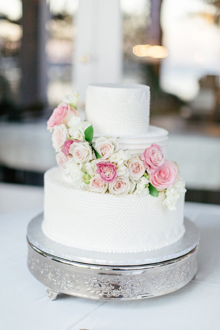Simple wedding cake- love the subtle textures on it!
