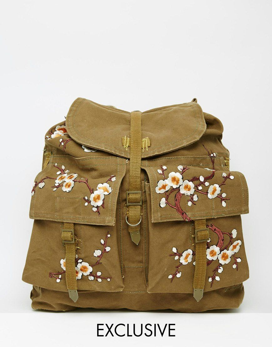 Image 1 of Reclaimed Vintage Military Backpack With Floral Patches ...