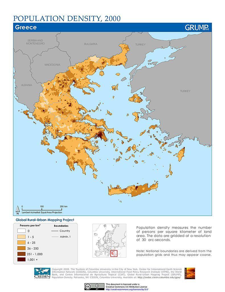Maps  Population Density Grid Greece SEDAC MAPS Pinterest - Map of colorado population density