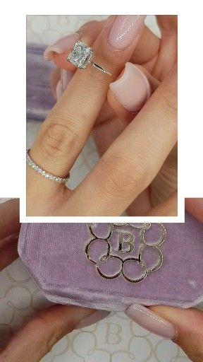 Crushed ice cushion cut engagement ring set!