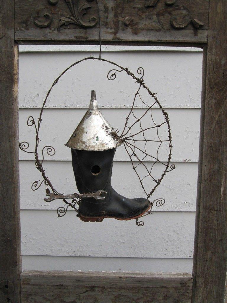 Brilliant Unusual Rustic Rubber Boot Bird House With Barbed Wire Spiderweb Wiring Digital Resources Warobapapkbiperorg
