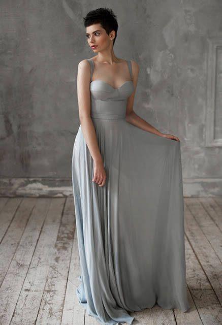 Eeribiya / Grey Wedding dresses silk wedding dress boho wedding ...