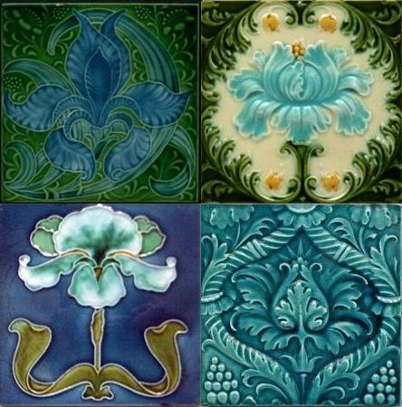 four art nouveau ceramic tiles