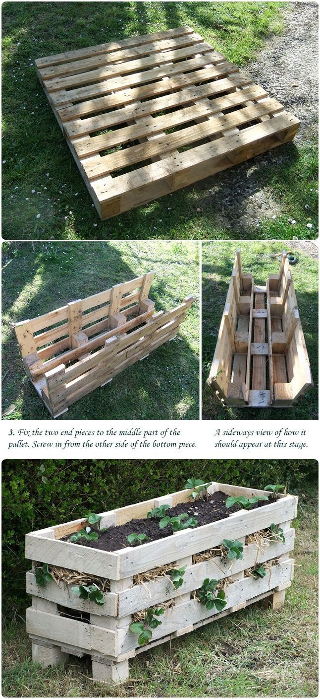 How to Make a Better Strawberry Pallet Planter, could adapt for easy potato growing, too!