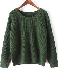 Green Round Neck Long Sleeve Chunky Sweater