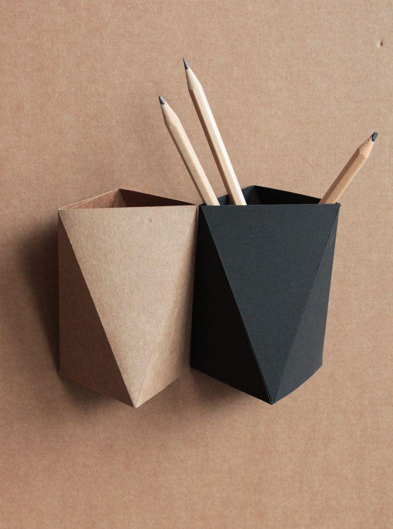 Origami Paper Box  Desk Pen Holder Gray Desk Accessory