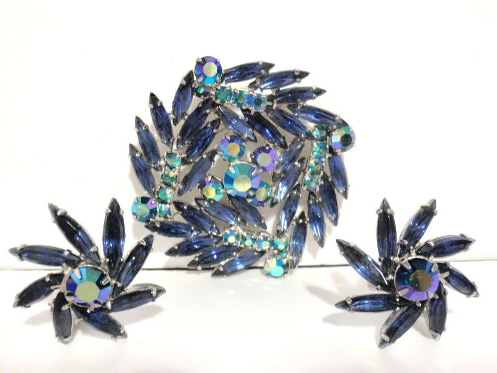 Vintage D&E JULIANA Blue Navette AB Crystal Rhinestone BROOCH PIN EARRING Set! #JULIANADeLizzaElster #BroochPinEarrings