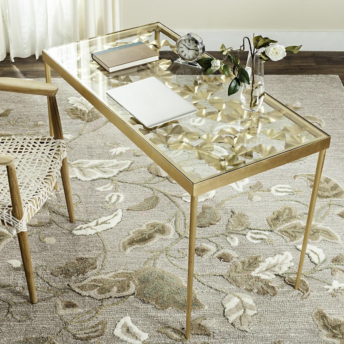 Fox2590a Desks Furniture By Safavieh Gold Glass Decor Glass Top Table [ 1200 x 1200 Pixel ]