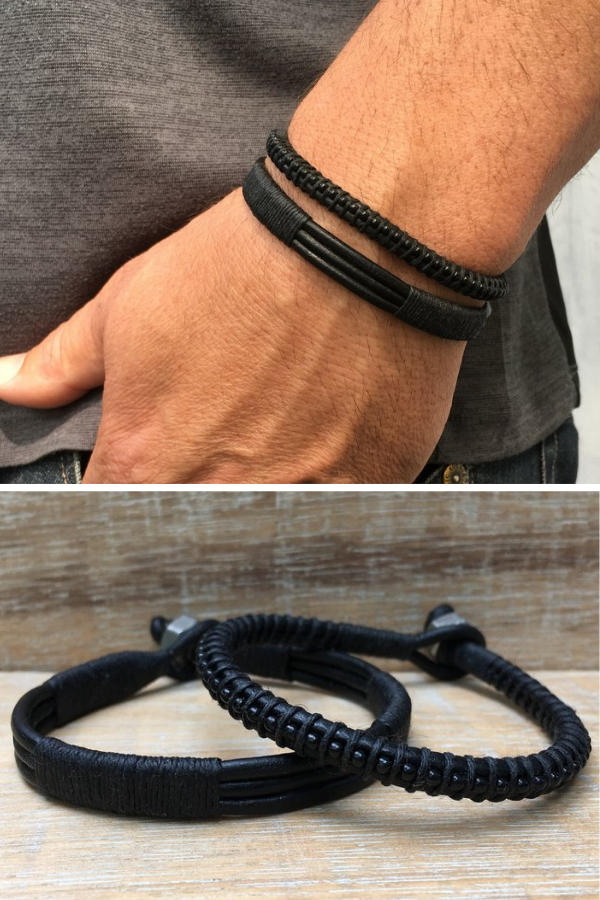 Men Leather Bracelet Mens Black Rocker