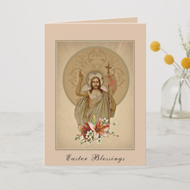 Photo of Happy Easter Blessings Prayer Resurrection Vintage Holiday Card   Zazzle.com