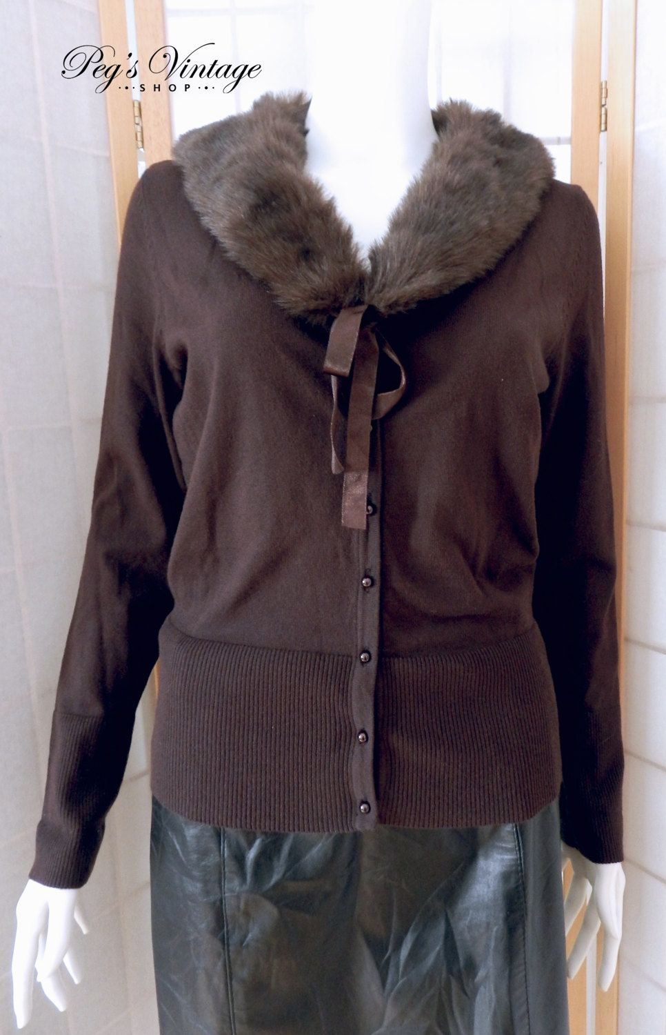 Trending Brown Cardigan Sweater W Detachable Faux Fur Collar ...