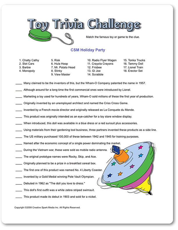 Printable Toy Trivia Challenge Adult Birthday Party