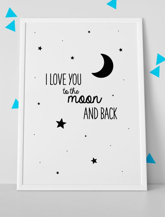 Our saying a must have!! Wonder if they will add our extra part (to the moon, stars and astronauts) xxx I love you to the moon and back poster print / A4 / by Saffles