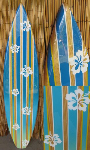 TIKI SOUL DECORATIVE SURFBOARD ART - Hibiscus Rain Surfboard decor ...