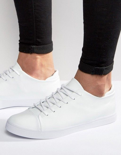 922d91ce827 DESIGN sneakers in white with toe cap | Men shoes Athlete ...