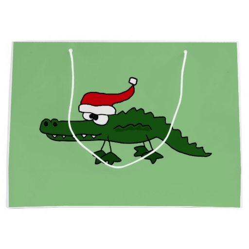 Funny Alligator in Santa Hat Christmas Gift Bag Large Gift Bag